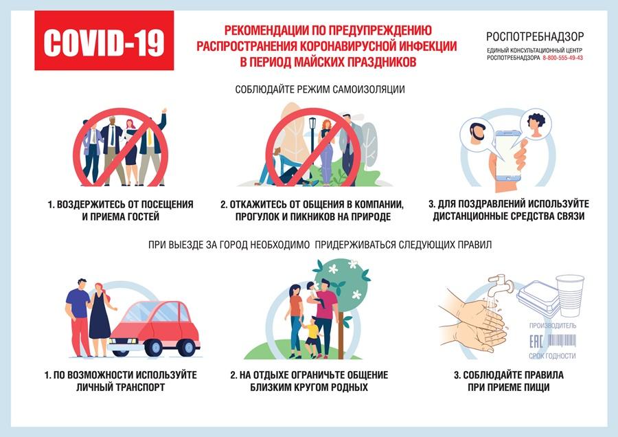 О рекомендациях для населения по профилактическим мероприятиям по предупреждению распространения новой коронавирусной инфекции в период майских праздников
